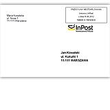 SendSystem skraca czas adresowanie kopert przesyłek InPost - wygląd koperty z nadrukiem