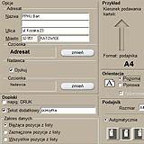 Drukowanie kopert - wygląd zrzutu programu do adresowania kopert, listów, przesyłek